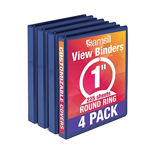 Samsill Economy 3 Ring View Binder, 1 Inch Round Ring - Holds 225 Sheets, PVC-Free / Non-Stick Customizable  Cover, Dark Blue, 4 Pack ()