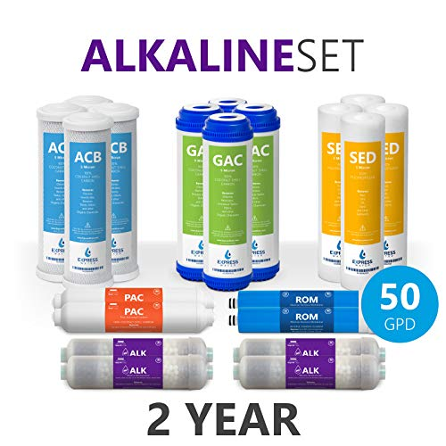50 Reverse Gpd Osmosis (Express Water - 2 Year Alkaline Reverse Osmosis System Replacement Filter Set - 20 Filters with 50 GPD RO Membrane - 10 inch Size Water Filters)