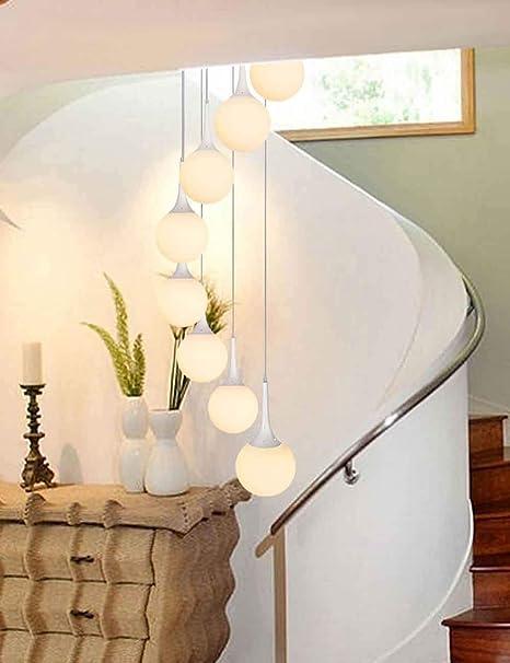 MLSHLF LAMP Escalera en Espiral Larga araña de Vidrio Bola Blanca Restaurante Duplex Villa Piso Medio Moderno Escalera Minimalista Araña (Size : 8 Balls): Amazon.es: Hogar