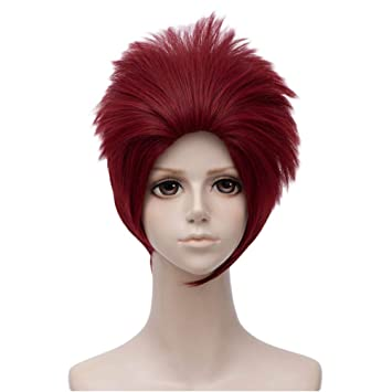 Amazon.com   Flovex Short Fluffy Deep Red Hair with Bangs Mens Spiky  Costume Cosplay Party Wigs (Dark Red)   Beauty 29ef0f0f9