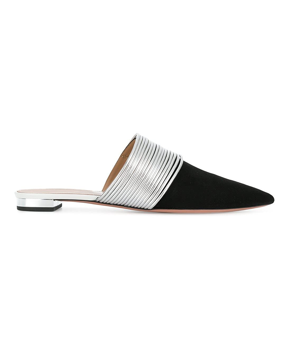 Sammitop Womens Pointed Toe Slippers,Black and Silver Slip-on Mules,Low Heel Fashion Summer Shoes