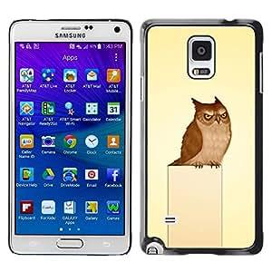 Qstar Arte & diseño plástico duro Fundas Cover Cubre Hard Case Cover para Samsung Galaxy Note 4 IV / SM-N910F / SM-N910K / SM-N910C / SM-N910W8 / SM-N910U / SM-N910G ( Owl Grumpy Bird Art Drawing Fairytale)