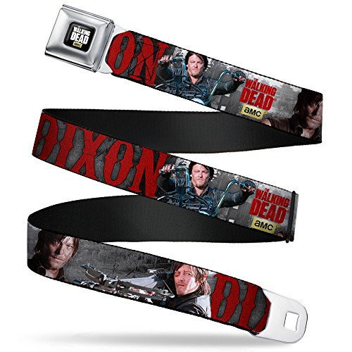 Buckle-Down Seatbelt Belt - THE WALKING DEAD Daryl Crossbow Poses/Fence - 1.5