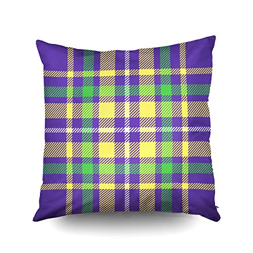 (ROOLAYS Decorative Throw Square Pillow Case Cover 20X20Inch,Cotton Cushion Covers Christmas Tartan Plaid Pattern Mardi Gras Color Both Sides Printing Invisible Zipper Home Sofa Decor)