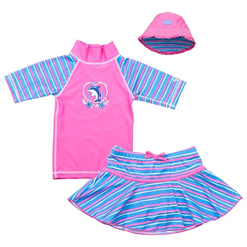 Kids Sun Protection Clothing (UV Skinz Girls' 3-piece Swim Set UPF 50+, 7, Pink)