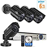 [Expandable 8CH] Security Camera System AHD Video DVR Recorder with 4X HD 1080P Night Vision Home Waterproof Indoor Outdoor CCTV Cameras,Motion Alert 1TB HDD Pre-Installed
