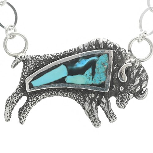 - Inlaid Turquoise Silver Buffalo Pendant Ladies Navajo Link Necklace 1959