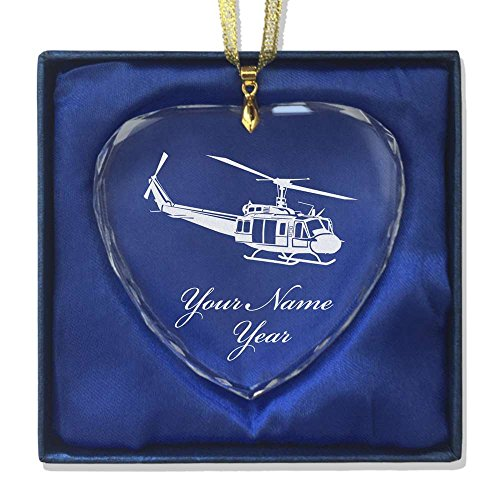 Heart Helicopter (Heart Crystal Christmas Ornament - Huey Helicopter - Personalized Engraving Included)
