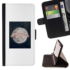 """For Motorola Moto E ( 1st Generation ),S-type Te Quiero Para Los Valentines Luna"""" - Dibujo PU billetera de cuero Funda Case Caso de la piel de la bolsa protectora"""
