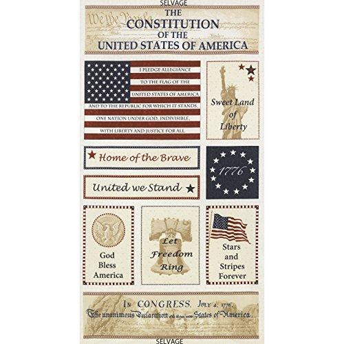 "Timeless Treasures Patriotic Fabrics USA 24"" Patriotism Panel - Sold by the Panel"