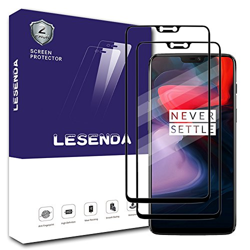 Lesenda Oneplus 6 Screen Protector(2 Pack),[ HD Clear][Full Coverage][2.5D Curved Edge] [9H Hardness ][Scratch Free ]Tempered Glass Screen Protector for Oneplus 6 (Black)