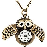 MingXiao Hot New Unisex Vintage Slide Owl Colgante Collar Largo Reloj de Bolsillo Regalo Colgante Reloj de Bolsillo Forma Antigua Búho