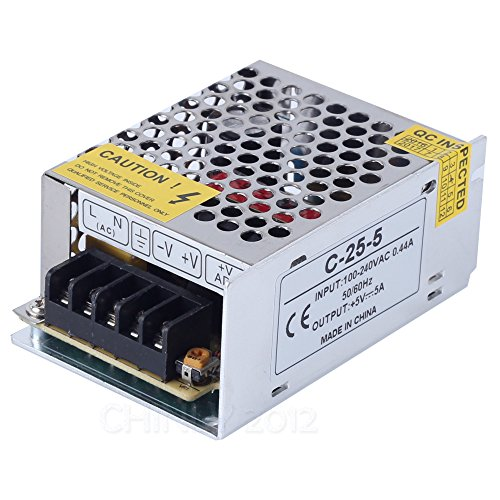 CHINLY DC5V 5A Power Supply Universal Regulated Switching Power Supply Transformer For WS2811 2801 WS2812B WS2813 APA102 LED Strip Light, CCTV, Radio, Computer Project (DC5V 5A 25W)