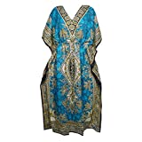 Mogul Interior Women's Maxi Caftan Dress Blue Printed Kimono Kaftan One Size