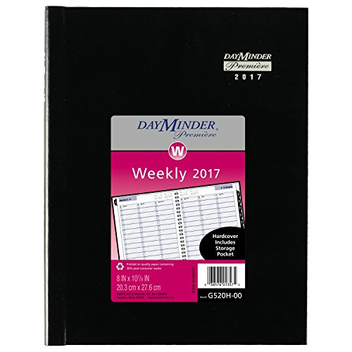 "DayMinder Weekly Planner / Appointment Book 2017, Premiere, Hardcover, 8 x 10-7/8"", Black (G520H-00)"