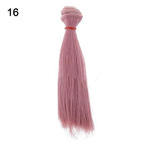 MAJGLGE Peluca de Pelo Recto de Seda de 15 cm para Barbie BJD Muñeca – #