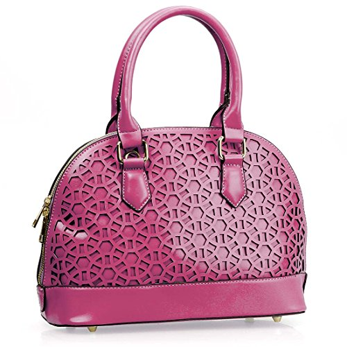 BMC Womens Fuchsia Pink PU Faux Leather Circle Pattern Perforated Cutout Boston Style Satchel Top Handle Shoulder Handbag