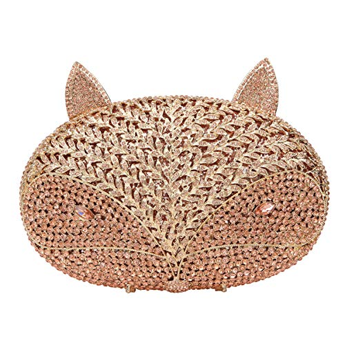 Fawziya Fox Clutch For Women Evening Clutches For Wedding And Party-Rose Gold