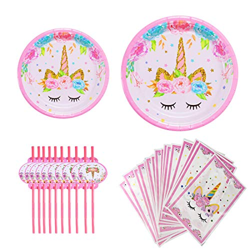 Birthday Treat Plate - Unicorn Birthday Party Decoration Supplies,48 Pack Unicorn Plastic Party Plates & Unicorn Plastic Straw Set,Unicorn Goodies Gift Treat Candy Bags for Kids Girls Birthday Party Favors