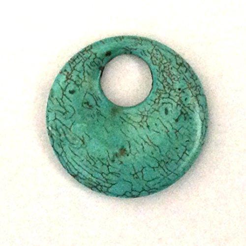 Imagine If.Blue Turquoise Agogo Disc Donut Pendant 39-40mm