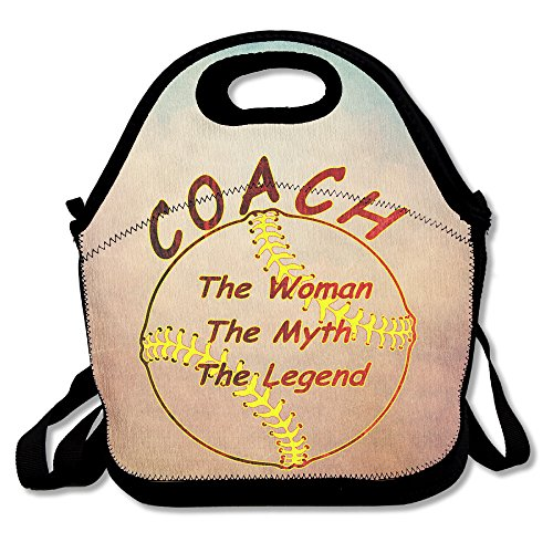 Baseball Softball Coach The Man The Myth The Legend Lunch Tote Insulated Reusable Picnic Lunch Bags Boxes For Men Women Adults Kids Toddler Nurses