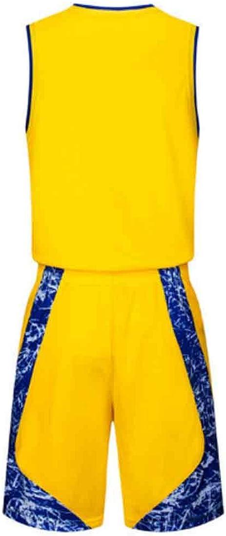 IOSHAPO Basketball Uniform V Kragen Jersey und Shorts Training Tank Top Set 2 St/ück Set Basketball Trikots Set f/ür M/änner Sportswear