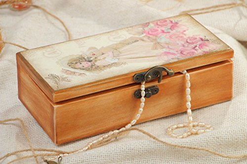 Handmade Decorative Wooden Jewelry Box Of Rectangular Shape In Provence Style