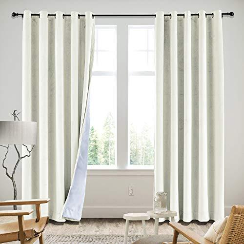 ned Premium Velvet Curtain Eyelet Grommet Window Treatment Curtains for Livingroom Bedroom Theater Studio in Beige 50