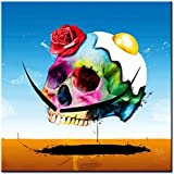 Surreal Skull - cráneo surrealista - imagen vidrio acrilico, Patrice Murciano, tamaño 50 cm x 50 cm, impresion digital directamente en vidrio, impresion artistica de alta calidad, art print, cuadro en la pared, Pop Art, Cyber Art, Punk Art, cuadro listo para colgar