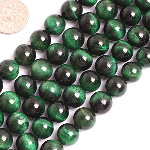 GEM-inside 10MM Green Tiger Eye Beads Dyed Color Round Loose Beads Findings Accessories Strand 15 Inches