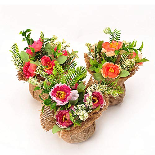 BEGONDIS Set of 3 Artificial Flowers with Flax