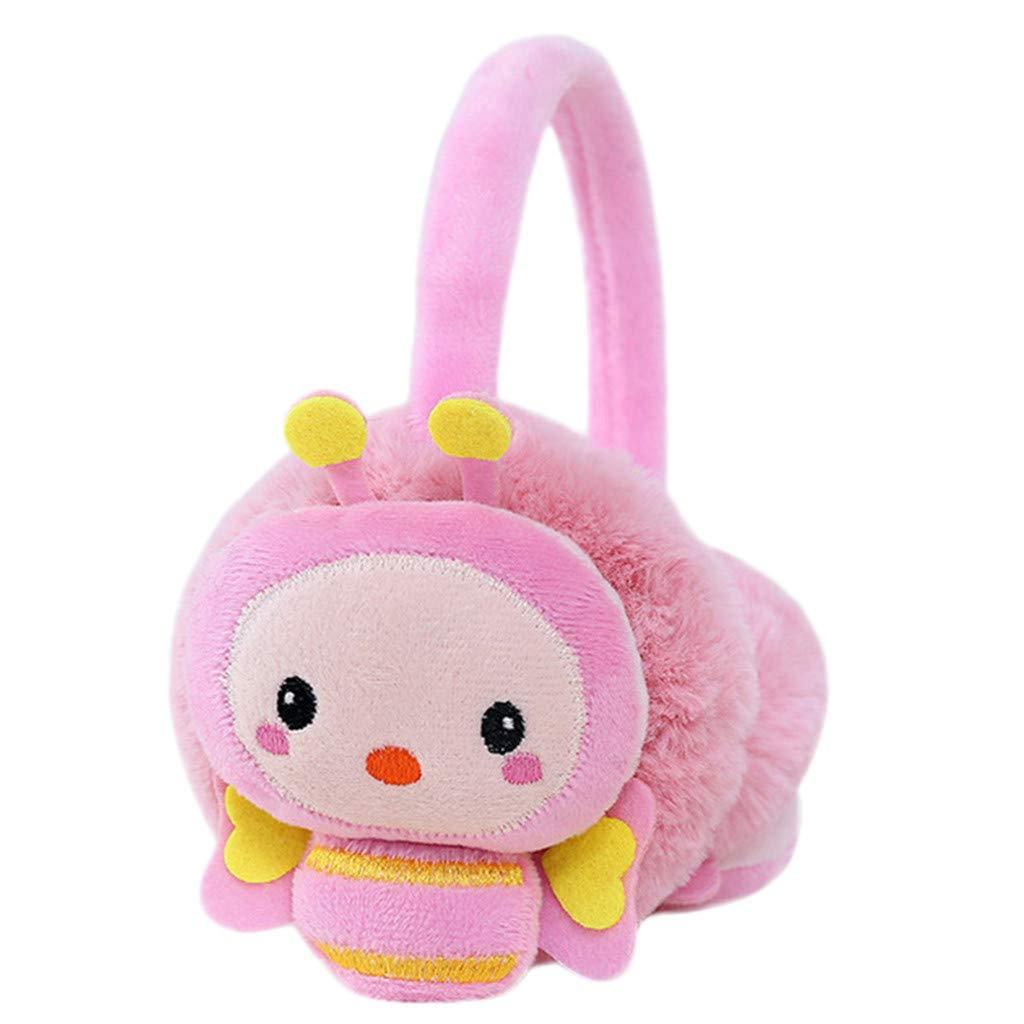 Lightning Deals Earmuffs, ZYooh Young Girls Kids Cartoon Bee Ears Design Windproof Warm Adjustable Ear Warmers (Pink)