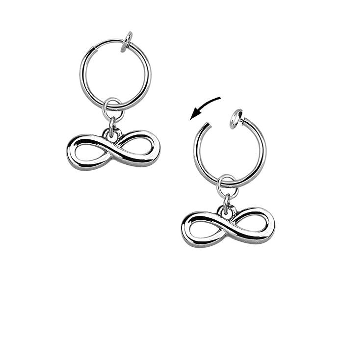 Test Bauchnabel Piercing Infinity Endlosschleife Fake Clip Klemme Silber Ø 13mm