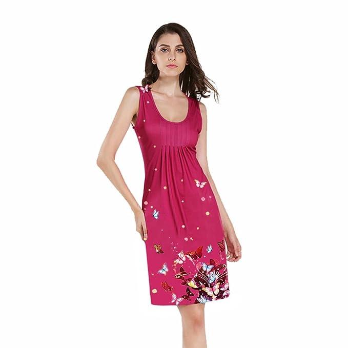 Kleider Damen Elegant LHWY Mode Frauen Weste Kleid ärmellos