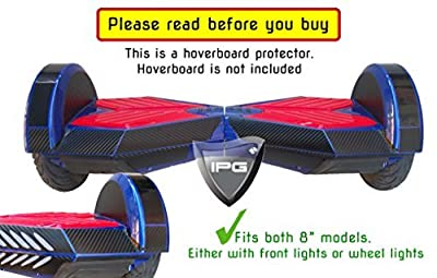 """3D Black Carbon Fiber 8"""" Smart Balancing Electric Scooter BODY PROTECTOR Decorative Vinyl Protection Hoverboard Skin Cover Case By IPG ®"""