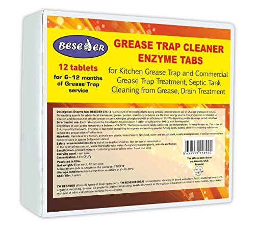 Beseder Enzyme tabs Grease Trap Cleaner 12 pcs for Grease Trap Cleaning and Septic Tank Cleaning, Clearing Grease from drains. Breaks Down All Oils and Grease. for Home Kitchen Commercial Restaurants by Beseder (Image #4)