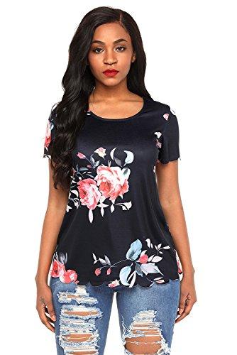 Neuf Noir et rose Floral festonné Top à manches courtes pour femme de soirée pour femme Tenue décontractée dété Taille UK 8EU 36