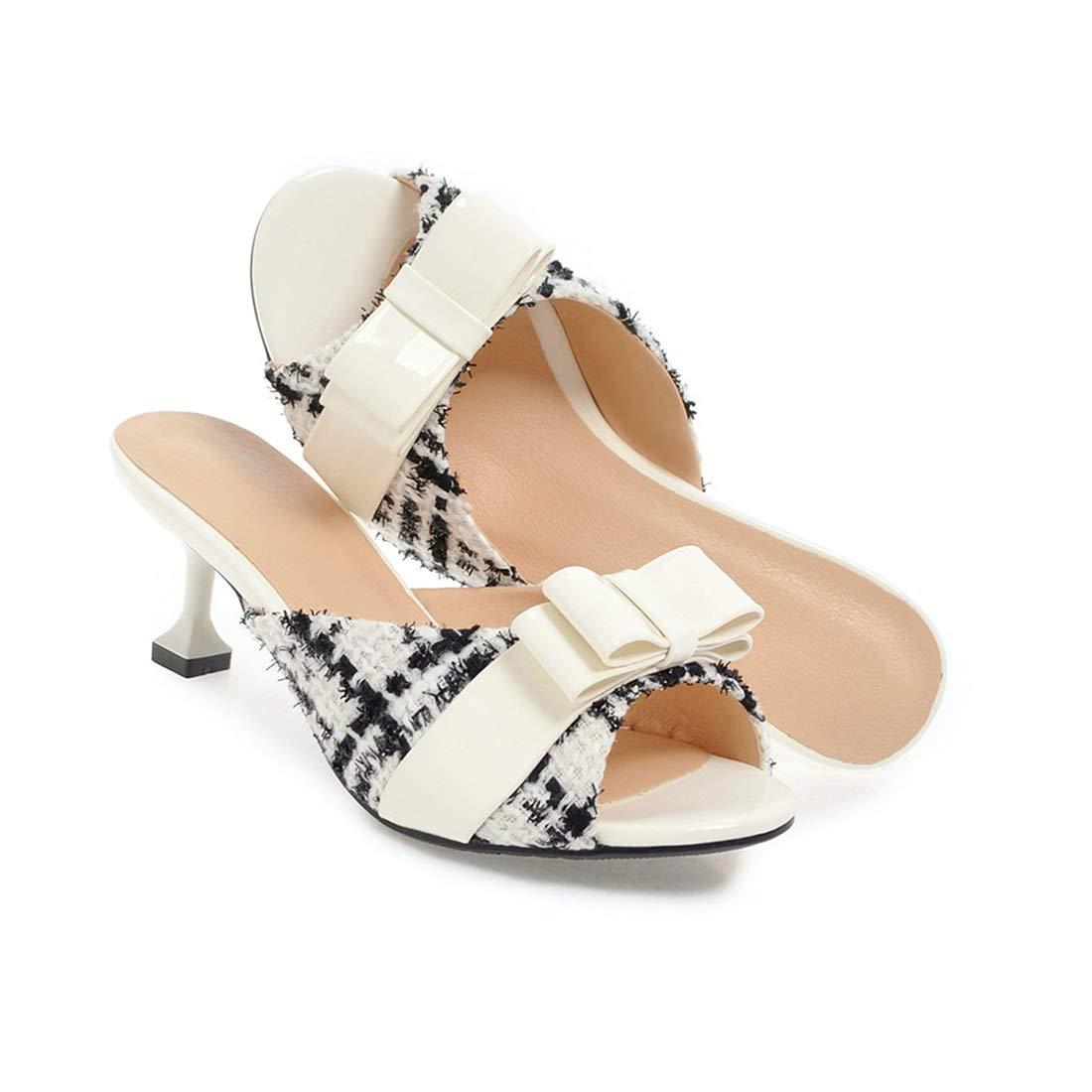 Eora-2sl Summer Ladies Shoes peep Toe Shallow Elegant Mules Shoes Heel 5.5cm Women Slippers