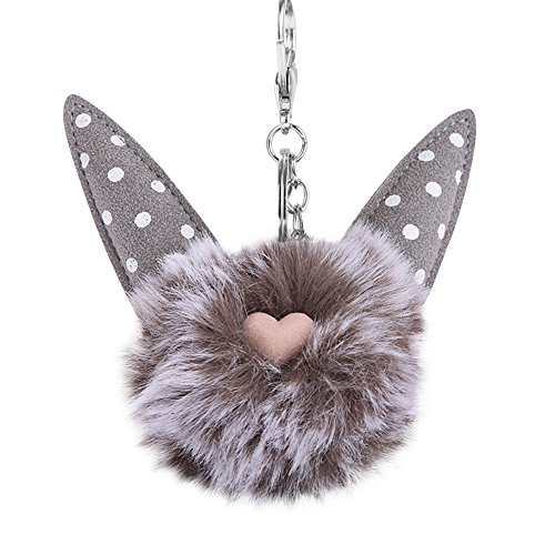 Heart Purse Valet - Slendima Cute Fluffy Heart Cat with Dot Ear Pompom Hand Bag Key Ring Holder Car Keychain Ornament Grey + White