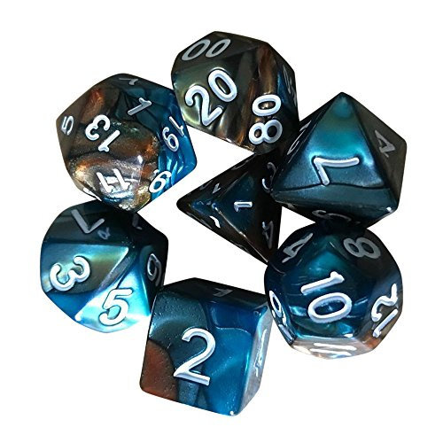Jonerytime 7pcs/Set TRPG Game Dungeons & Dragons Polyhedral D4-D20 Multi Sided Acrylic Dice (G)