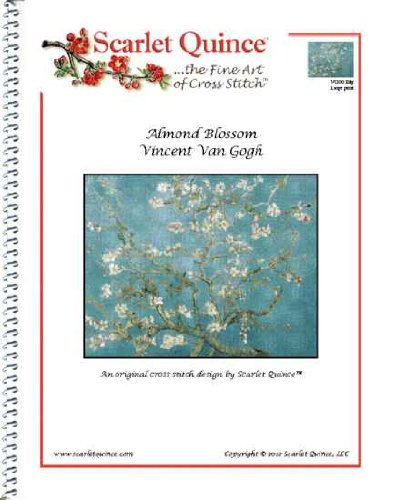Scarlet Quince VGO023lg Almond Blossom by Vincent Van Gogh Counted Cross Stitch Chart, Large Size Symbols
