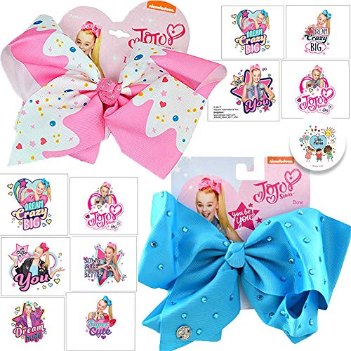 Jojo Siwa BFF Large Bows and Tattoos Party Pack With 1 Turqouise Bow, 1 Pink Funfetti Bow, 8 Jojo Siwa Tattoos, and Exclusive Pin By Another Dream -