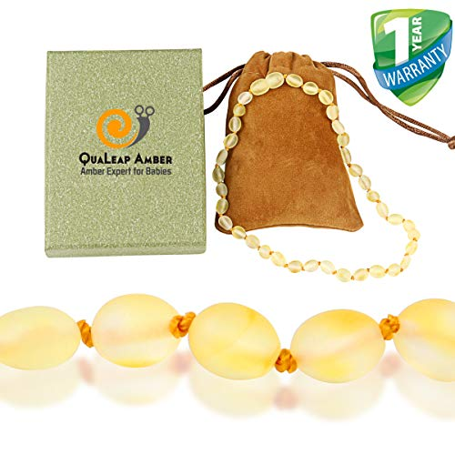 Amber Teething Necklace for Babies (Unisex - Raw Lemon - 12.5 Inches) - Anti Flammatory, Drooling & Teething Pain Reduce Properties - Natural Raw Baltic Jewelry