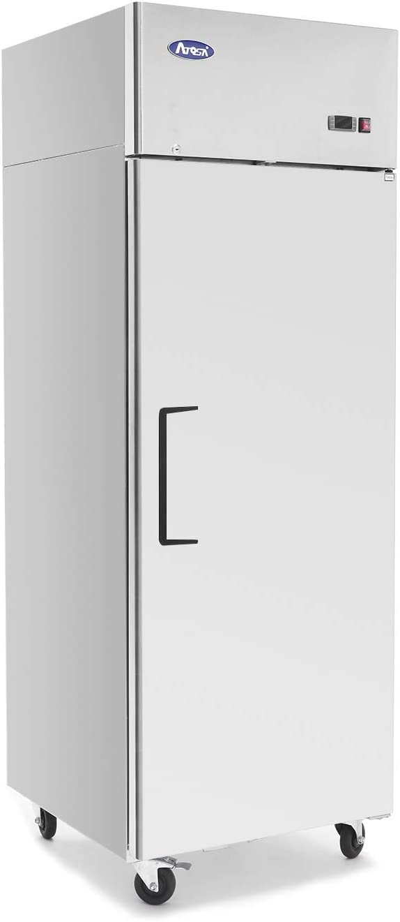 Single Door Commercial Refrigerators, ATOSA Top Mount Stainless Steel Reach in Upright Refrigerator With 1 Solid Door for Restaurant - 21.4 cu.ft, 33℉-38℉, Air Cooled, Energy Star, Fast delivery