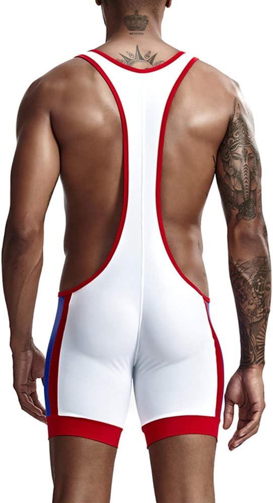 wear2me Mens Leotard Underwear Boxer Shorts Jumpsuit Wrestling Singlet Bodysuits