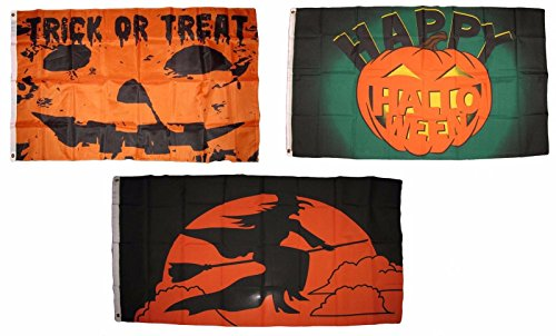 ALBATROS 3 ft x 5 ft Happy Halloween 3 Pack Flag Set #143 Combo Banner Grommets for Home and Parades, Official Party, All Weather Indoors Outdoors]()