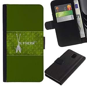 JackGot ( Slytherin ) Samsung Galaxy Note 3 III la tarjeta de Crédito Slots PU Funda de cuero Monedero caso cubierta de piel