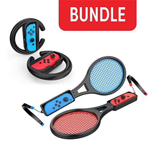 Steering Wheel / Tennis Racket Combo Pack for Nintendo Switch - by TalkWorks Joy Con Controller Grip Racing & Sports Game Accessories for Mario (Tennis Aces & Kart)