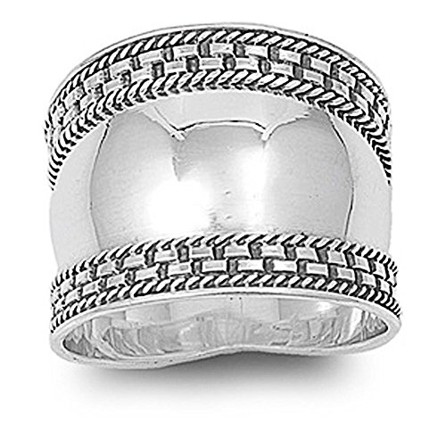Double Accent Sterling Silver Bali Design Ring 18mm (Size 5 to 12) Size 12