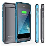 Battery Case for iPhone 6 or iPhone 6s - MobilePal Ultra Slim 3100mAh Charger Case with Tempered Glass Screen Protector - Apple MFi Certified (Gray Case + Blue & Clear Frames)